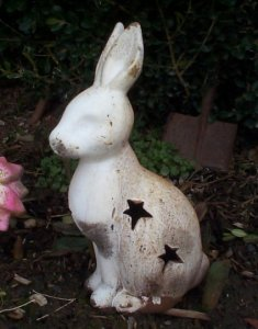 Sitting Bunny Luminary with Stars