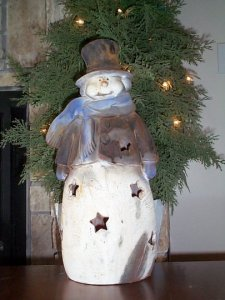 Large Snowman Candle Cover